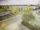 Neuaubing: Fotomontage für den Platz vor dem Quartierszentrum mit Palettenmöbeln