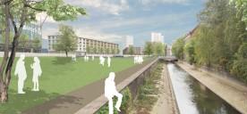 Leipzig: Parkterrasse und Parklinse an der Parthe (Bildmontage)